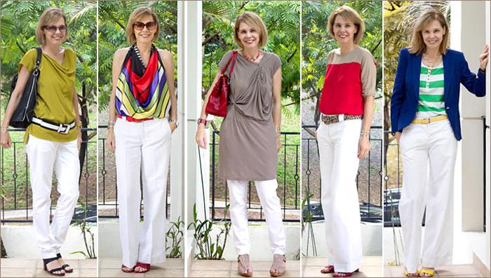 Летом у девушек через белые брюки видны трусики