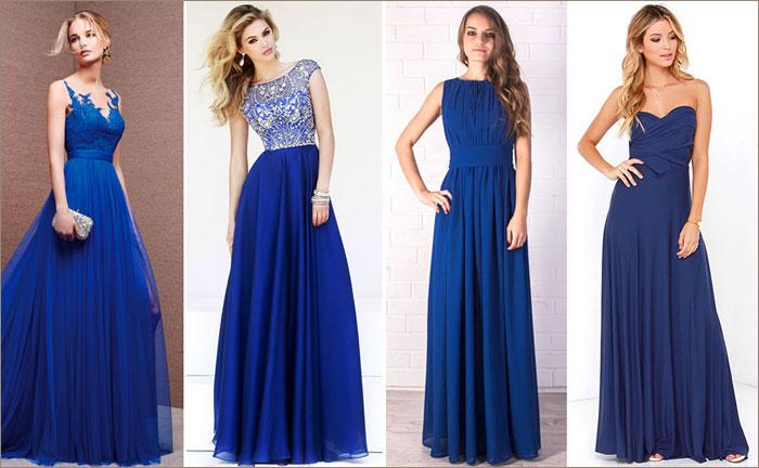 синее в пол платье фото